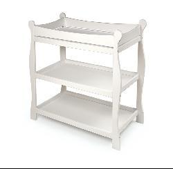 Badger Basket Sleigh-style White Changing Table - Thumbnail 1