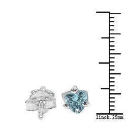 Malaika Sterling Silver Trillion-cut Blue Topaz Stud Earrings - Thumbnail 2