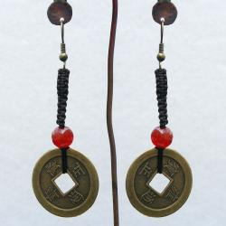 Hand-crafted Antique Asian Coin Dangling Hook Earrings (China) - Thumbnail 1