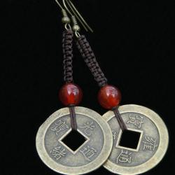 Hand-crafted Antique Asian Coin Dangling Hook Earrings (China) - Thumbnail 2