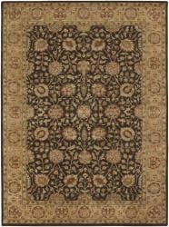 Hand-knotted Mandara Brown Wool Rug (9' x 13') - Thumbnail 1