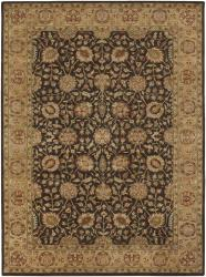 Hand-knotted Mandara Brown Wool Rug (9' x 13') - Thumbnail 2