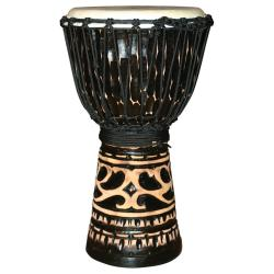 Deep Carve Antique Chocolate Djembe Drum (Indonesia) - Thumbnail 1