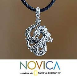 Dancing Dragon Black Leather Braided Cord with Oxidized 925 Sterling Silver Animal Theme Mens Pendant Necklace (Indonesia)