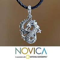 Handmade Dancing Dragon Black Leather Braided Cord with Oxidized 925 Sterling Silver Animal Theme Mens Pendan (Indonesia)