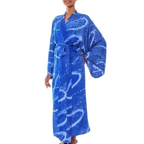 Handmade Sea of Sapphire Batik Robe (Indonesia)