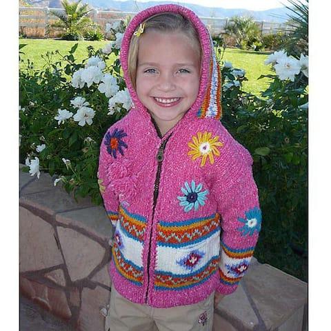 Artisan Handmade Garden Girl Pink Wool Sweater (Ecuador)