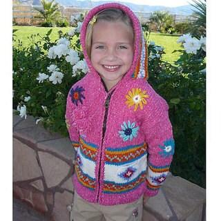Handmade Garden Girl Pink Wool Sweater (Ecuador) (3 options available)