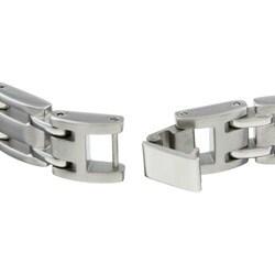 Unending Love Stainless Steel and 1/2ct TDW Black Diamond Men's Bracelet - Thumbnail 1