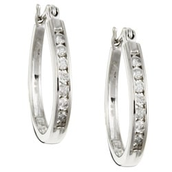 Unending Love Sterling Silver 1/2ct TDW Diamond Hoop Earrings (I-J, I2-I3)