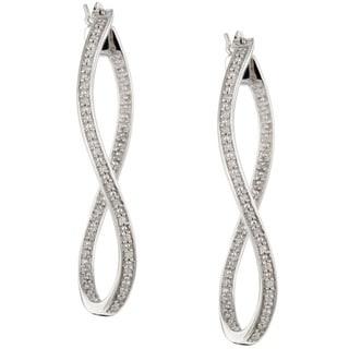 Unending Love Sterling Silver 1/6ct TDW Diamond Twist Dangle Earrings