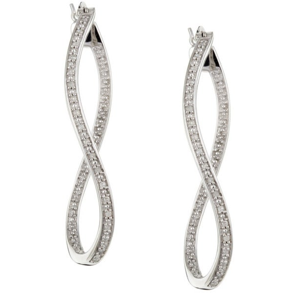 Unending Love Sterling Silver 1/6ct TDW Diamond Twist Dangle Earrings