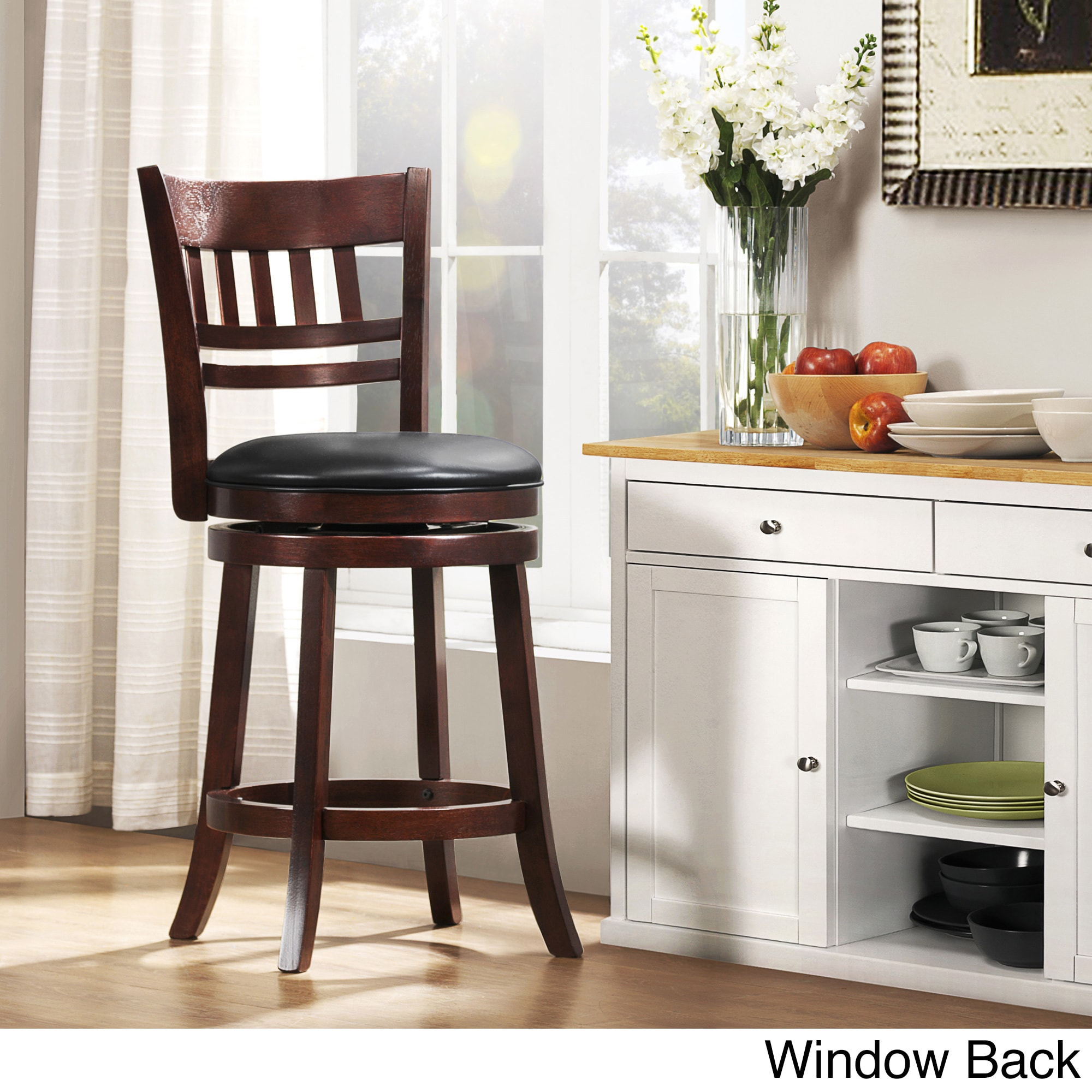 Verona Cherry Swivel 24 Inch High Back Counter Height Stool By INSPIRE Q  Classic (