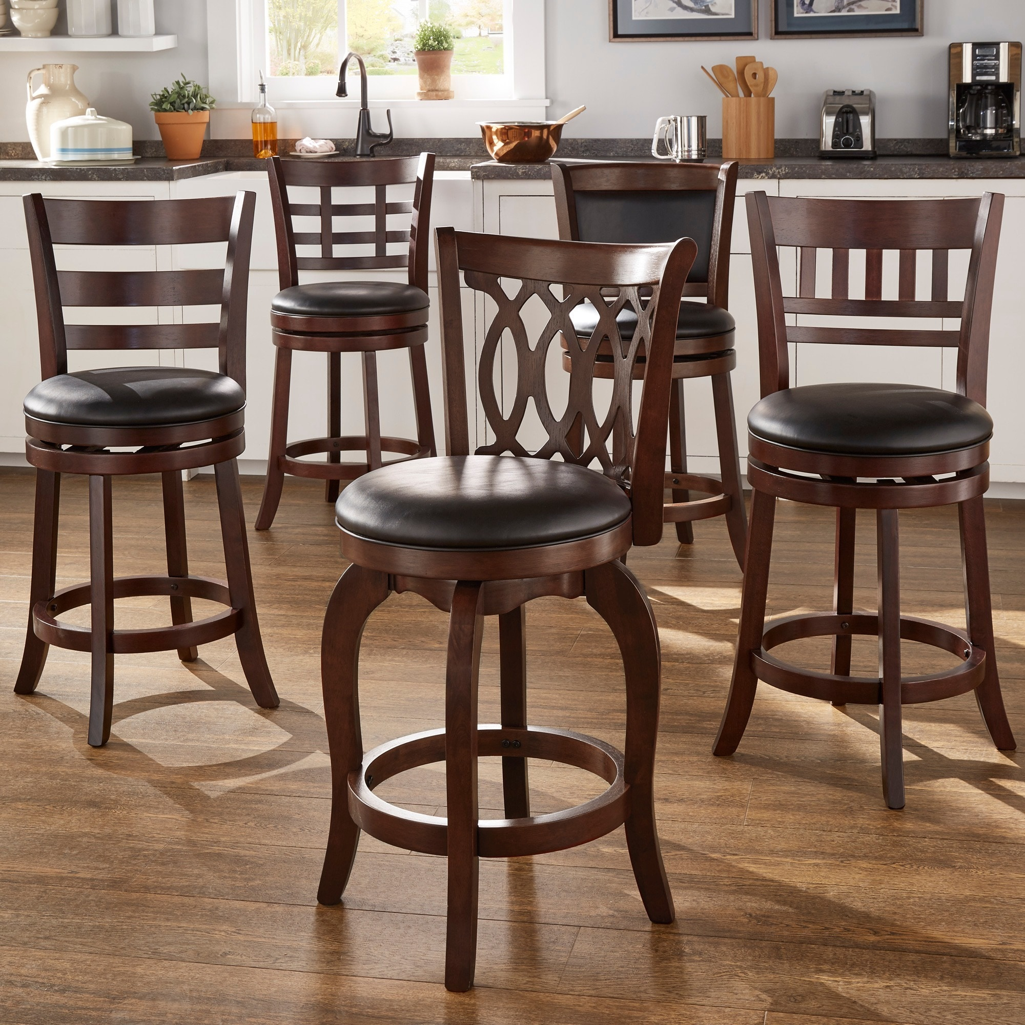 Swivel Bar Stools 24 In Cherry Finish Wood Frame Faux