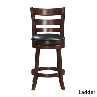 iNSPIRE Q Verona Cherry Swivel 24-inch High Back Counter Height Stool by  Classic (Ladder Back)