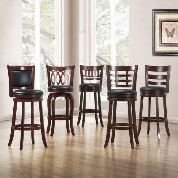 Tribecca Home Verona Cherry Swivel 29 Inch Barstool Free