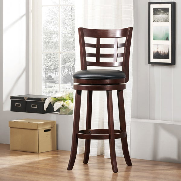 Verona Cherry Swivel 29 Inch High Back Barstool By Inspire