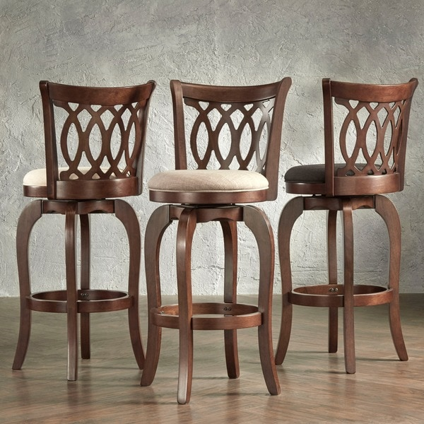 TRIBECCA HOME Verona Linen Scroll-back Swivel 29-inch Bar Stool