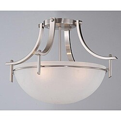 Porch & Den Cherrywood Clarkson Satin Nickel 3-light Ceiling Fixture