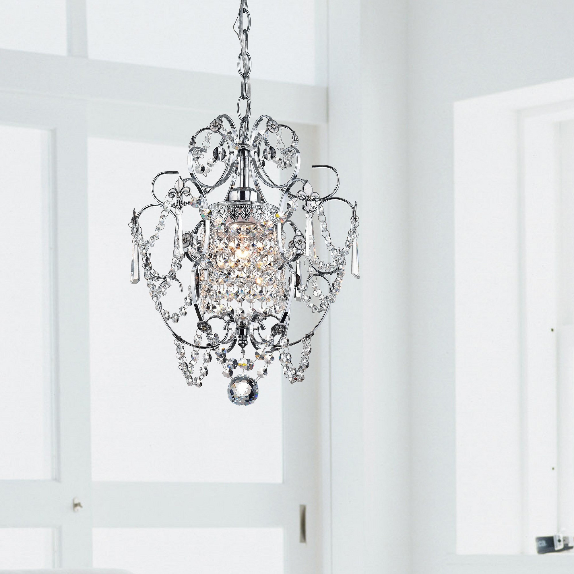 Chrome (Grey) Crystal Chandelier (As Is Item)