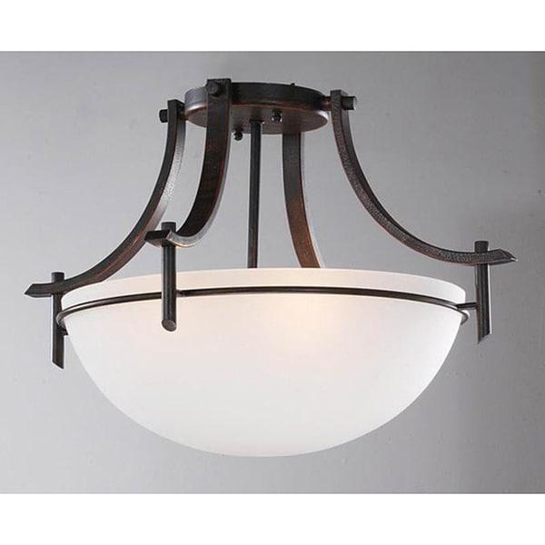 Laurel Creek Briar Dark Bronze 3-light Ceiling Fixture
