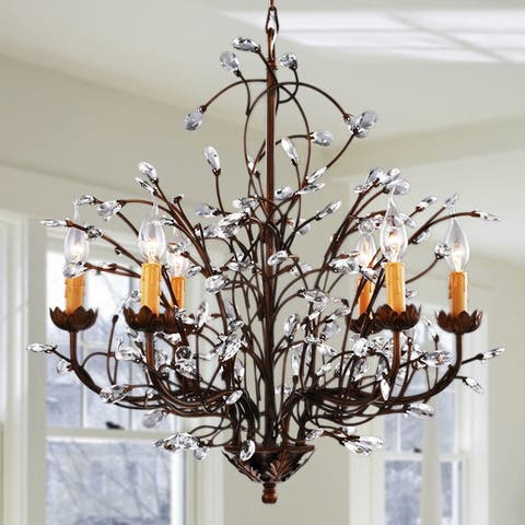 Copper Grove Antique Bronze 6-light Crystal and Iron Chandelier