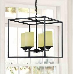 Large Black 4-light Pillar Chandelier