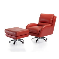 Milan Leather Club Chair with Ottoman - Thumbnail 1