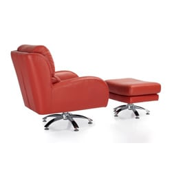 Milan Leather Club Chair with Ottoman - Thumbnail 2