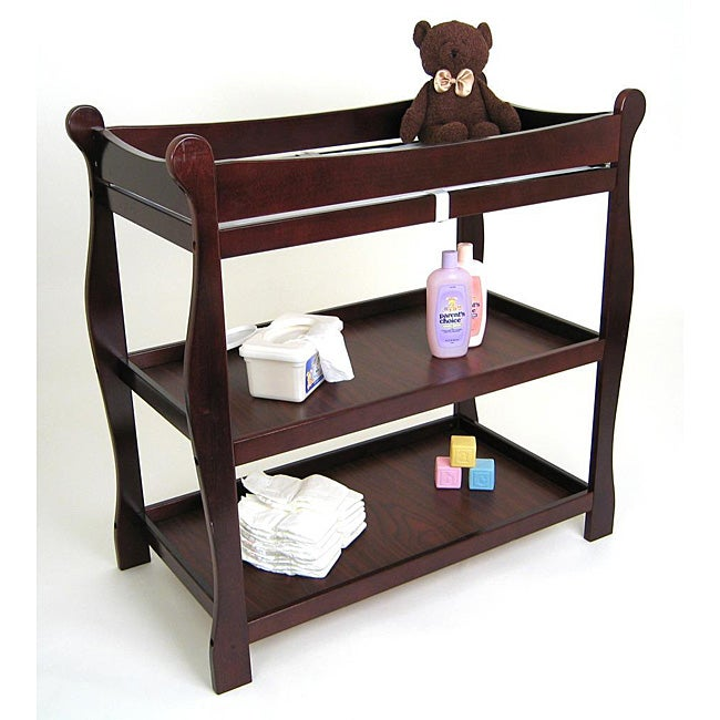 Charmant Sleigh Style Cherry Changing Table