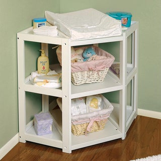 Badger Basket White Diaper Corner Changing Table