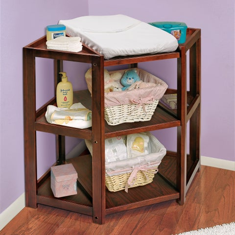 Badger Basket Cherry Wood Diaper Corner Changing Table