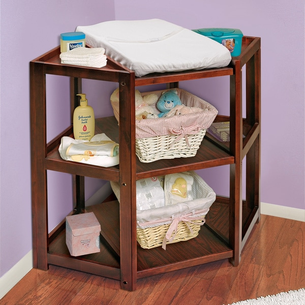 Badger Basket Cherry Wood Diaper Corner Changing Table