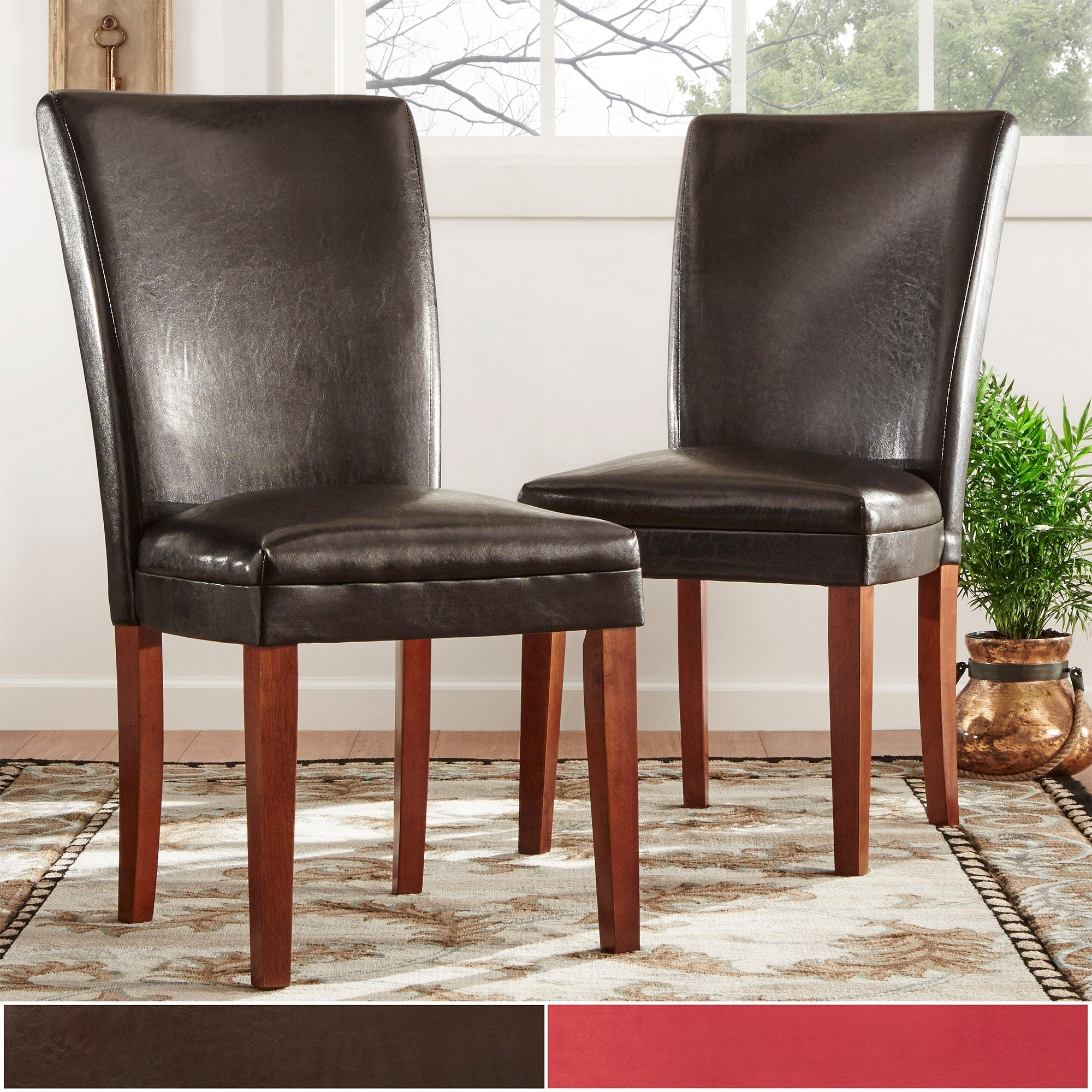 Parson Faux Leather Dining Chairs (Set of 2) by iNSPIRE Q...