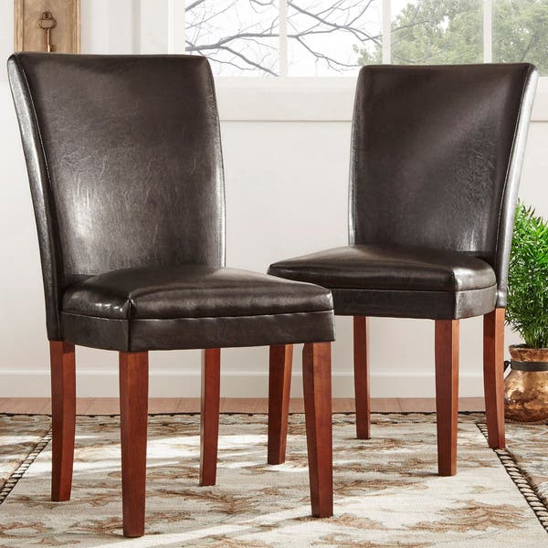 Surprising Shop Parson Faux Leather Dining Chairs Set Of 2 By Inspire Beatyapartments Chair Design Images Beatyapartmentscom