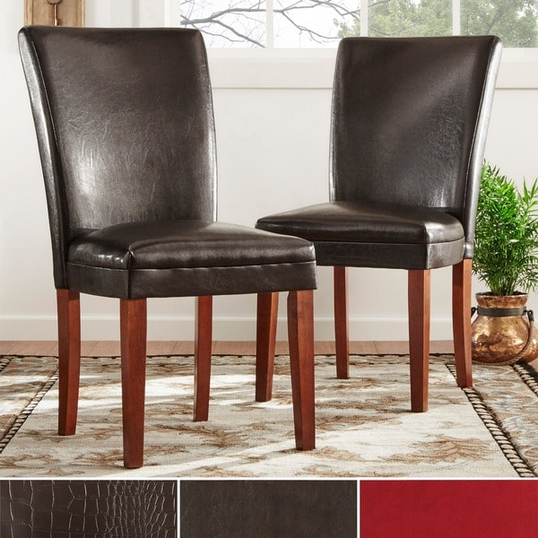 TRIBECCA HOME Parson Faux Leather Side Chairs (Set of 2)