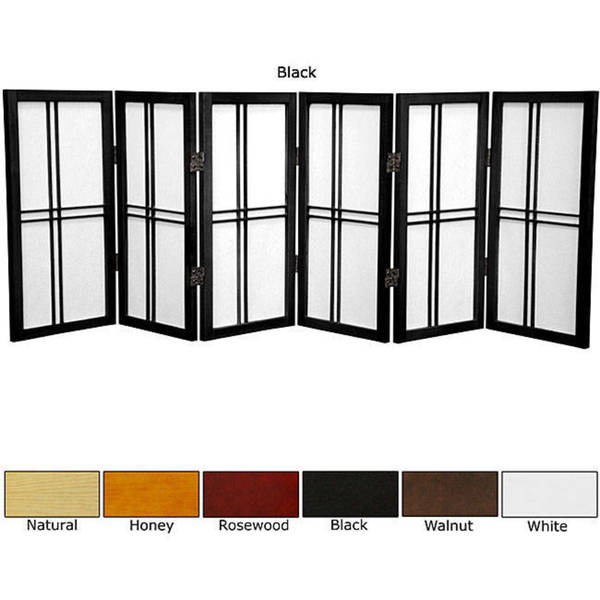 Spruce Wood 24-inch Double Cross 6-panel Room Divider (China)