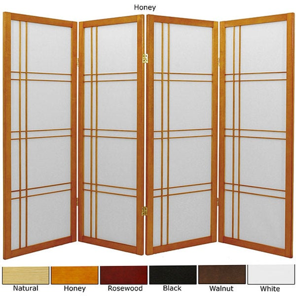 Spruce Wood 48-inch Double Cross 4-panel Room Divider (China)