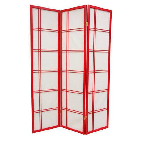 Handmade Wood and Paper Special Double Cross 6-foot Room Divider (China)
