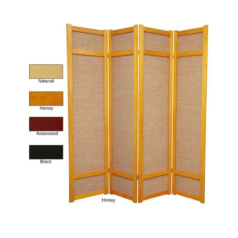 Handmade 6' Wood and Jute Room Divider