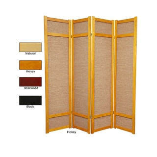 Handmade 6' Wood and Jute Room Divider