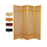 Handmade Wood and Jute 6-foot 4-panel Room Divider (China) - 71 x 68