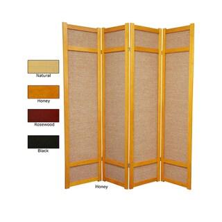 Handmade Wood And Jute 6 Foot 4 Panel Room Divider (China)