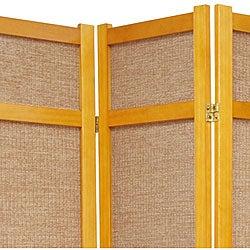 Handmade Wood and Jute 6-foot 4-panel Room Divider (China) - Thumbnail 1