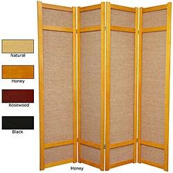 Handmade Wood and Jute 6-foot 4-panel Room Divider (China)