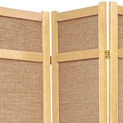 Handmade Wood and Jute 6-foot 5-panel Room Divider (China) - Thumbnail 1