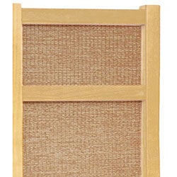 Handmade Wood and Jute 6-foot 5-panel Room Divider (China) - Thumbnail 2