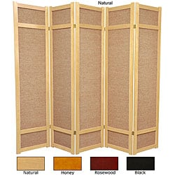 Handmade Wood and Jute 6-foot 5-panel Room Divider (China)