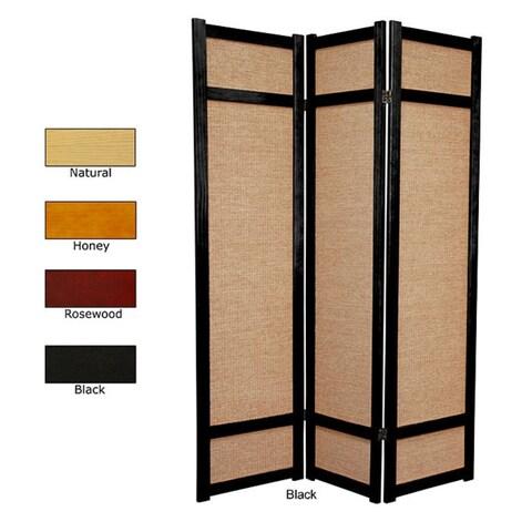 Handmade Wood and Jute 6-foot 3-panel Room Divider (China)