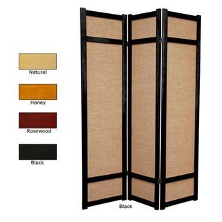 Handmade Wood And Jute 6 Foot 3 Panel Room Divider (China)